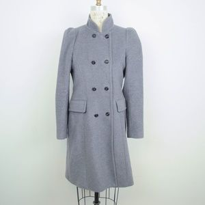 Zara Woman Coat Double Breasted Wool Angora Gray